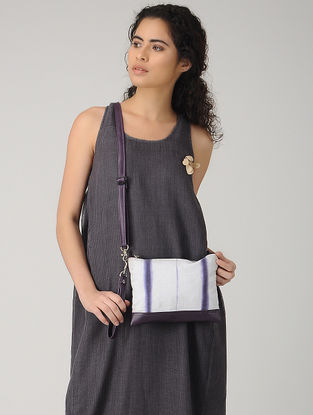 Purple-White Handcrafted Tie and Dye Cotton and Leather Sling Bag