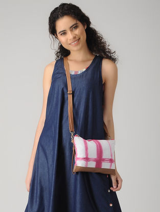 Pink-White Handcrafted Tie and Dye Cotton and Leather Sling Bag