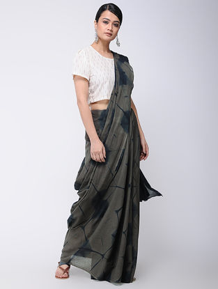 Grey-Indigo Clamp-dyed Mul Cotton Saree with Natural Dyes