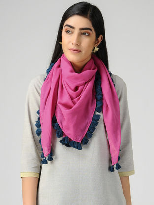 Pink-Blue Mul Cotton Scarf with Tassels