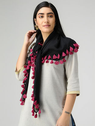 Black-Pink Mul Cotton Scarf with Tassels