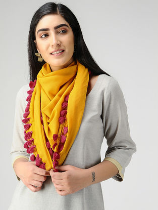Yellow-Pink Mul Cotton Scarf with Tassels