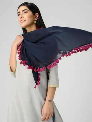 Blue-Pink Mul Cotton Scarf with Tassels