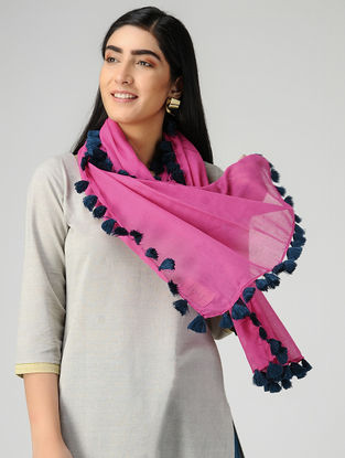 Pink-Blue Mul Cotton Stole with Tassels