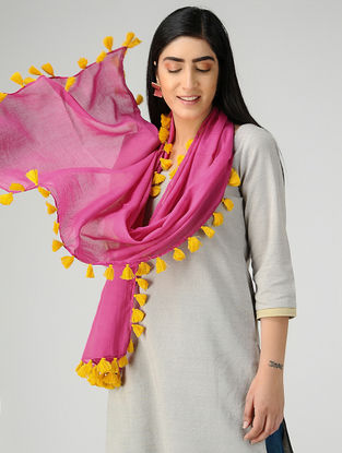 Pink-Yellow Mul Cotton Stole with Tassels