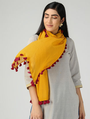 Yellow-Pink Mul Cotton Stole with Tassels