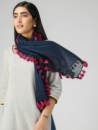 Blue-Pink Mul Cotton Stole with Tassels
