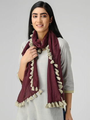 Maroon-Ivory Mul Cotton Stole with Tassels