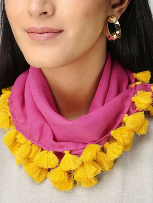 Pink-Yellow Mul Cotton Scarf with Tassels