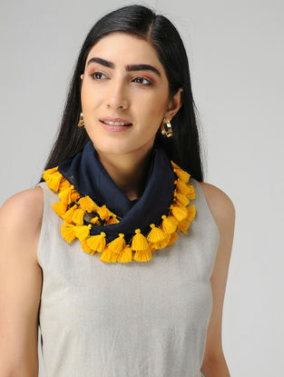 Blue-Yellow Mul Cotton Scarf with Tassels