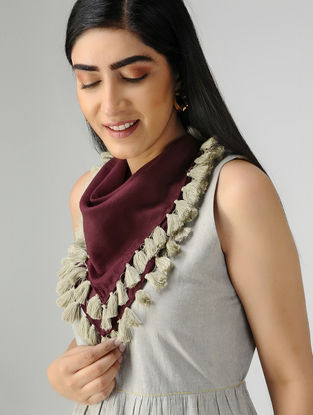Maroon-Ivory Mul Cotton Scarf with Tassels