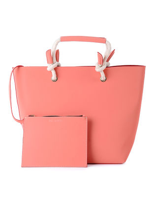 Pink Tote with Pouch (Set of 2)