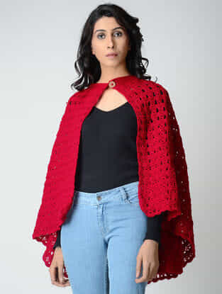 Red Hand-Crochet Wool Cape