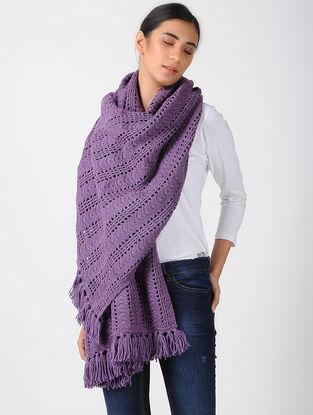 Purple Crochet Wool Shawl