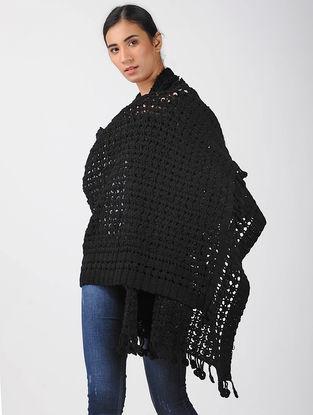Black Crochet Wool Shawl