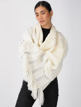 Ivory Knitted Wool Stole