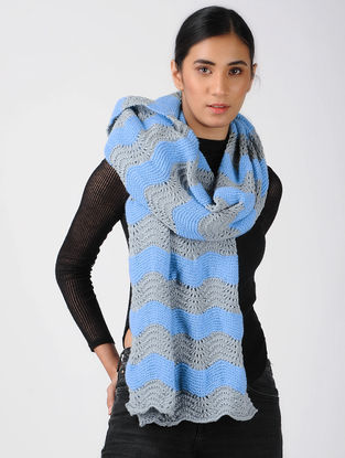Grey-Blue Knitted Wool Stole