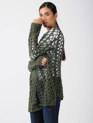 Green Crochet Wool Shrug