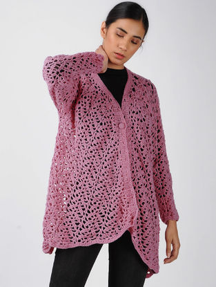 Pink Crochet Wool Shrug