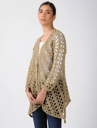 Beige Crochet Wool Shrug