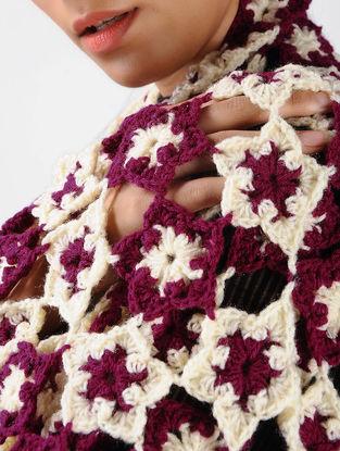 Ivory-Purple Crochet Wool Stole