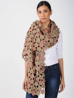 Beige-Pink Crochet Wool Stole