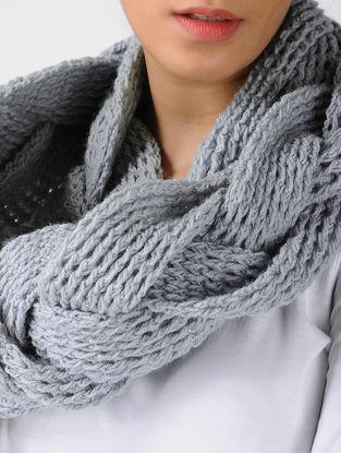 Grey Crochet Wool Cowl