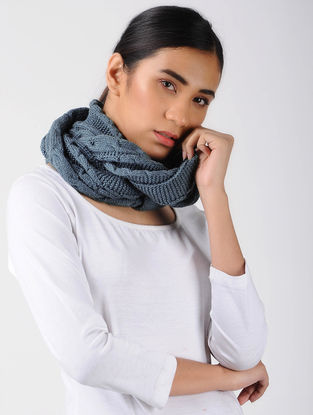 Grey Knitted Wool Cowl