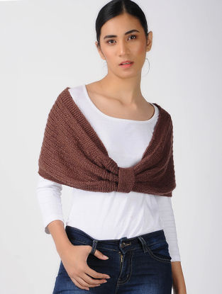 Maroon Knitted Wool Cowl