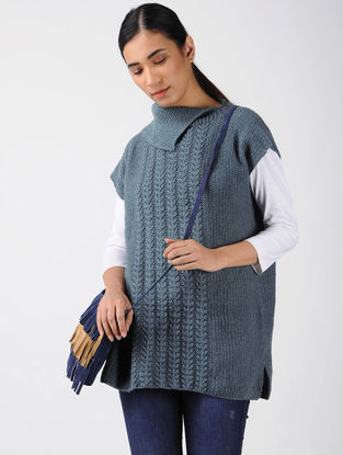 Grey Knitted Wool Top