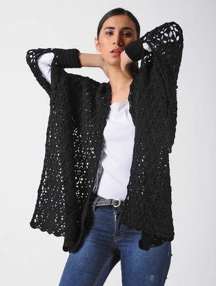 Black Crochet Wool Cape