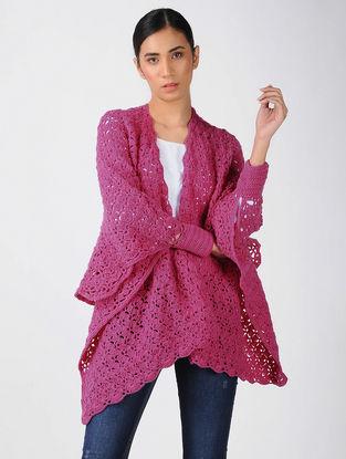 Pink Crochet Wool Cape