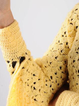 Yellow Crochet Wool Cape