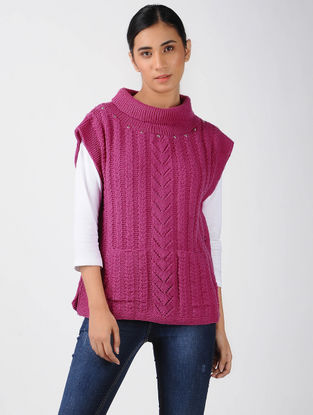 Pink Knitted Wool Poncho