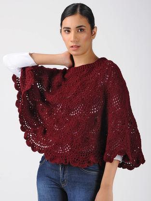 Red Crochet Wool Poncho
