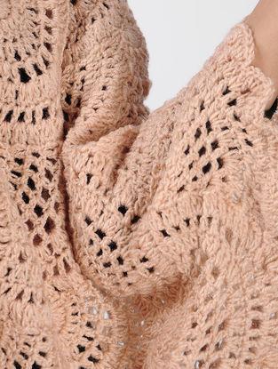 Peach Crochet Wool Poncho