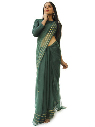 Green Chiffon Gota Saree with Blouse Piece