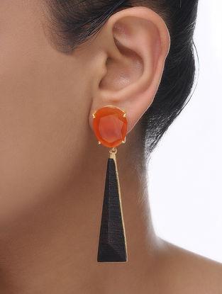 Orange Gold Tone Wood Earrings