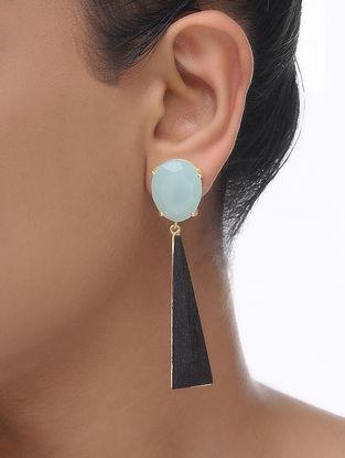 Green Gold Tone Wood Earrings