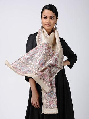 Beige-Pink Madhubani Hand-painted Tussar Silk Stole