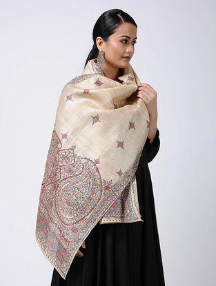 Beige-Red Madhubani Hand-painted Tussar Silk Stole
