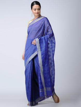 Blue Silk-Linen Saree with Zari Border