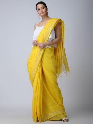 Yellow Silk-Linen Saree with Zari Border