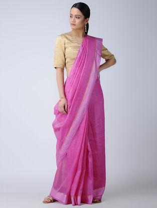 Pink Silk-Linen Saree with Zari Border