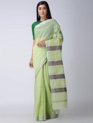 Green-Black Silk-Linen Saree with Zari Border