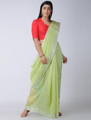 Green-Beige Silk-Linen Saree with Zari Border