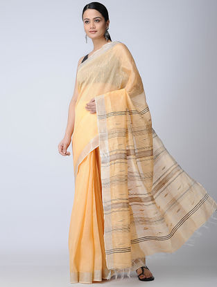 Yellow-Brown Silk-Linen Saree with Zari Border