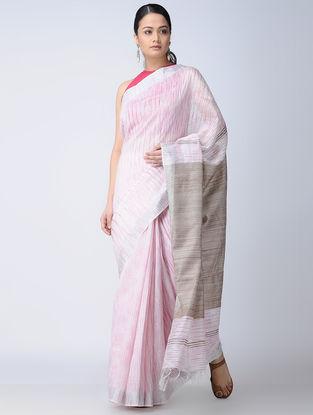 Ivory-Grey Silk-Linen Saree with Zari