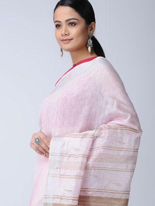 Pink-Beige Silk-Linen Saree with Zari