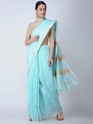 Turquoise-Beige Silk-Linen Saree with Zari
